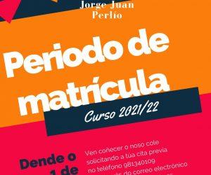 Periodo de matrícula para o curso 21-22